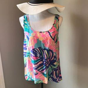 Lilly Pulitzer 100% Silk Cosmo sleeveless top Sz M